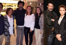 El actor con amigos de Chiclana en Atenas Paseo. A la derecha con parte del reparto de la serie.
