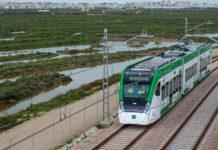 El tranvía, en una de sus pruebas entre Chiclana y San Fernando